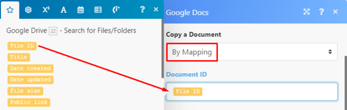Google Drive Integromat module settings