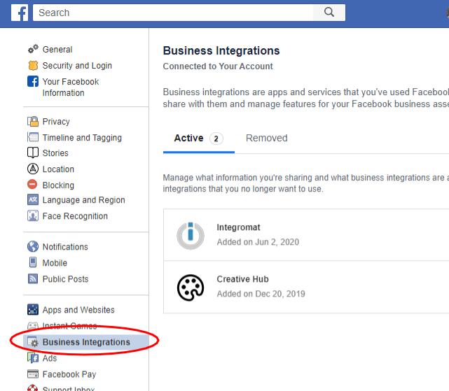 facebook-profile-settings-integrations
