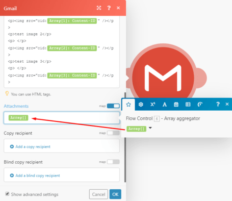 Gmail and Array aggregator module integration