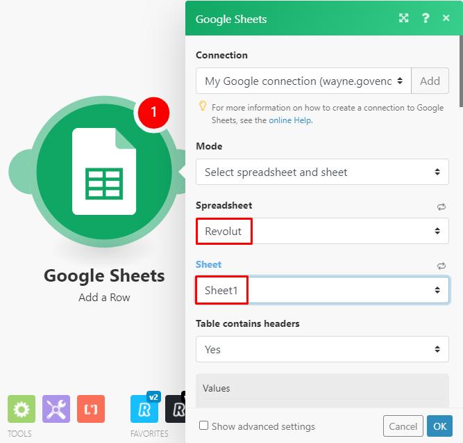 google-sheets-module-configuration