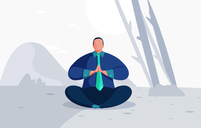 A businessman doing a meditation in the nature.