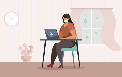 A woman with a face mask working from home.