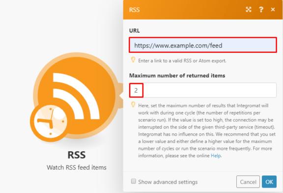 Integromat RSS module settings