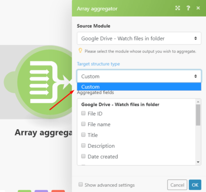 Array aggregator Integromat module settings