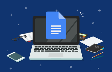 A laptop with Google Docs.