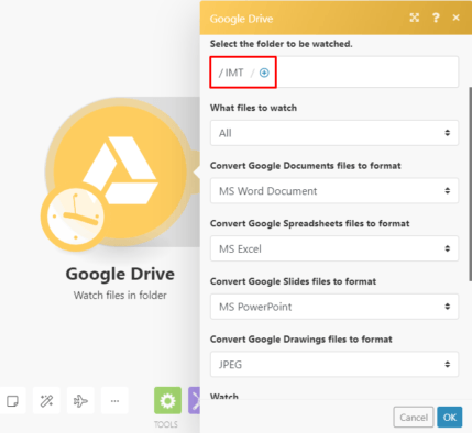 Google Drive watch files Integromat module