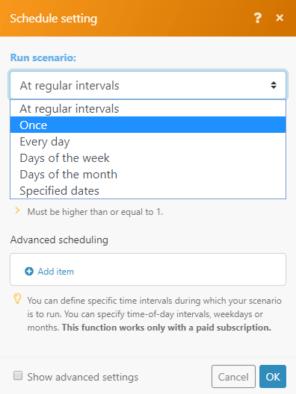 Integromat scenario schedule settings