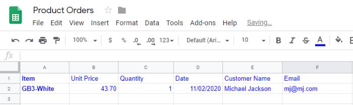 Google Sheets Integromat output