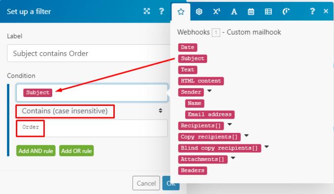 Custom mailhook Integromat module