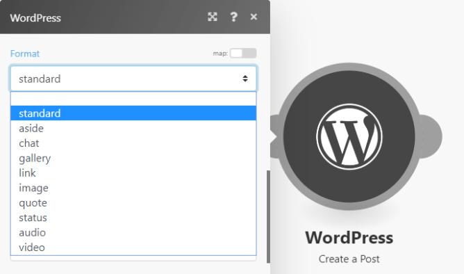 Integromat WordPress module settings