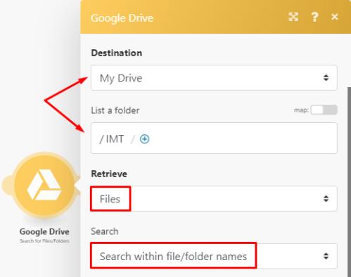 Google Drive Integromat module configuration