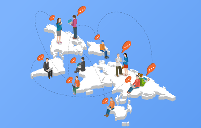 Remote team members collaboration all over the world.