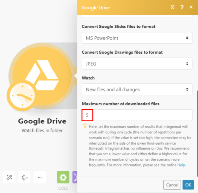 Google Drive watch files Integromat module settings
