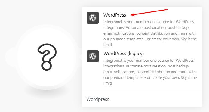 Integromat WordPress module configuration