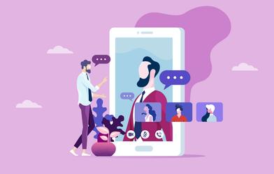 Remote team online meeting.