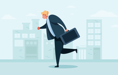 A businessman with a suitcase running to work.