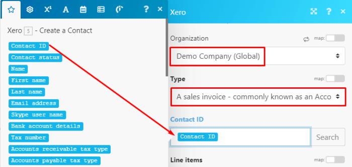 Create an invoice in Xero with Integromat module