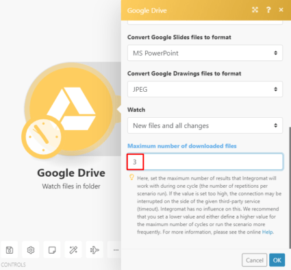 Google Drive Integromat module settings