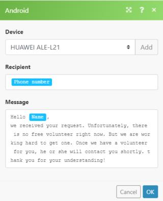 Android Integromat module configuration
