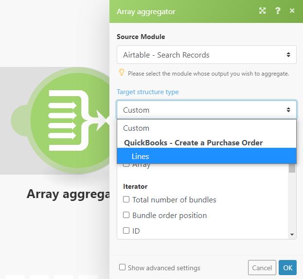array-aggregator-2-quickbooks-option-under-target-structure-type