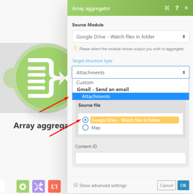 Array aggregator Integromat module configuration