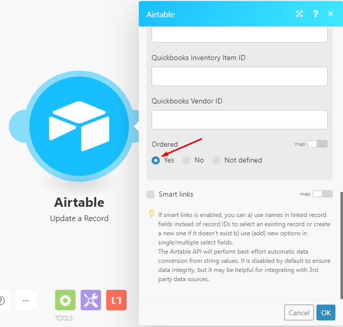 Airtable-update-a-record-ordered-option