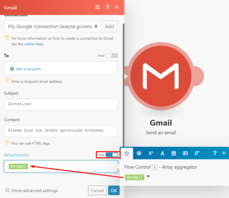 Gmail Integromat module settings